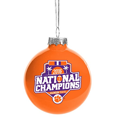 Clemson Tigers NCAA College Football Playoff 2016 National Champions Orange Glass Christmas Tree Ornament- 2 5/8″