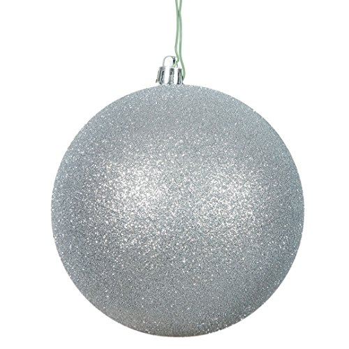 Vickerman N591007DG Glitter Ball Ornaments with Shatterproof UV Resistant, Pre-drilled cap Secured & 6″ of Green Floral Wire in 6 per bag, 4″, Silver