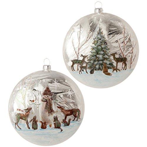 Raz Imports Christmas Ornament Woodland Animal Disc 2 assorted