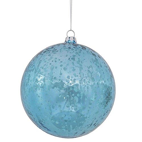 Vickerman Shiny Turquoise Blue Mercury Finish Shatterproof Christmas Ball Ornament 4″ (100mm)