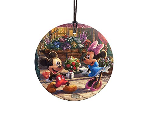 Disney (Mickey and Minnie Sweetheart Café) StarFire Prints Glass Ornament – Home and Christmas Tree Decoration