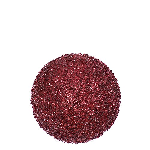 Vickerman 4ct Burgundy Red Sequin and Glitter Drenched Christmas Ball Ornaments 4″ (100mm)