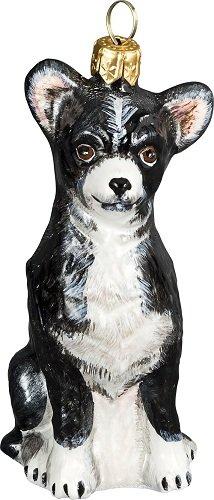 Black and White Chihuahua Dog Polish Blown Glass Christmas Ornament