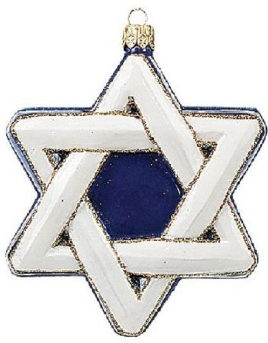 Jewish Star of David Polish Glass Holiday Ornament Made in Poland Decoration