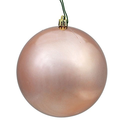 Vickerman N590758DSV Shiny Ball Ornaments with Shatterproof UV Resistant, Pre-drilled cap Secured & 6″ of green floral Wire in 12 per bag, 2.75″, Rose Gold