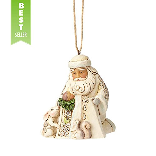 Jim Shore Heartwood Creek by Enesco White Woodland Santa w / Baby Jesus Ornament