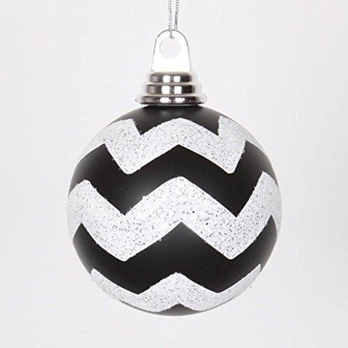 Vickerman 395431 – 4″ White-Black Plastic Matte-Glitter Chevron Ball Christmas Tree Ornament (4 pack) (M143377)