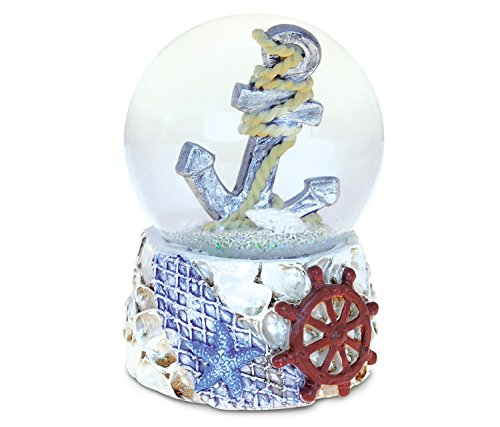 Puzzled Shells With Anchor (65mm) Nautical Snow Globes – Ocean Life / Boats Theme – Unique Elegant Gift and Souvenir – Item #9540