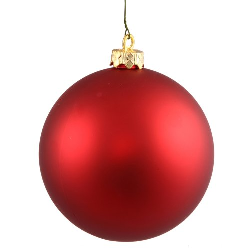 Vickerman Matte Finish Seamless Shatterproof Christmas Ball Ornament, UV Resistant with Drilled Cap, 24 per Bag, 2.4″, Red