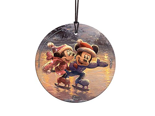 Thomas Kinkade Disney Mickey and Minnie Sweetheart Holiday StarFire Prints Glass Ornament – Home and Christmas Tree Decoration