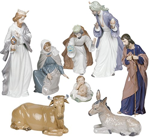 Widenshop-Nao by Lladro Nativity Set Figurines -Porcelain Christmas Set Ornament -Holy family baby Jesus, Mary, Josef, Three kings Baltisar, Melchior, Gaspar, Ox, Donkey Best Holiday gift collectible