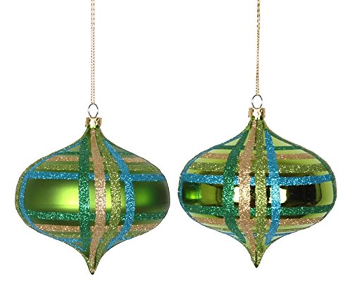 Vickerman 4ct Lime Green w/ Blue, Green & Gold Glitter Plaid Shatterproof Christmas Onion Ornaments 4″ (100mm)