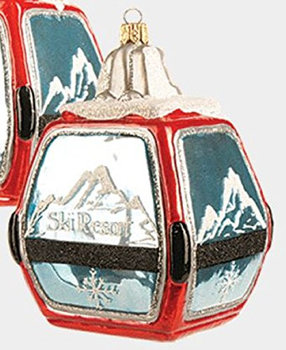Red Ski Resort Gondola Polish Glass Christmas Tree Ornament Skiing Decoration
