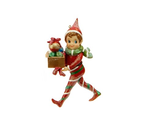 5″ Little Boy Elf with Ornament Gift Box Christmas Ornament