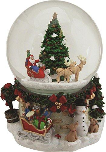 6.75″ Musical and Animated Santa on Sleigh with Christmas Tree Rotating Snow Globe Glitterdome