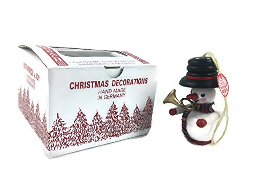Original Red Tag Steinbach Christmas Tree Ornament Handmade German Snowman Trumpeter