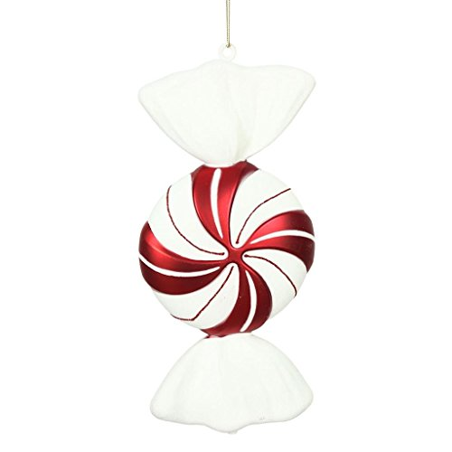 Vickerman 511039 – 12″ Red-White Round Swirl Candy Christmas Tree Ornament (2 Pack) (N179252)