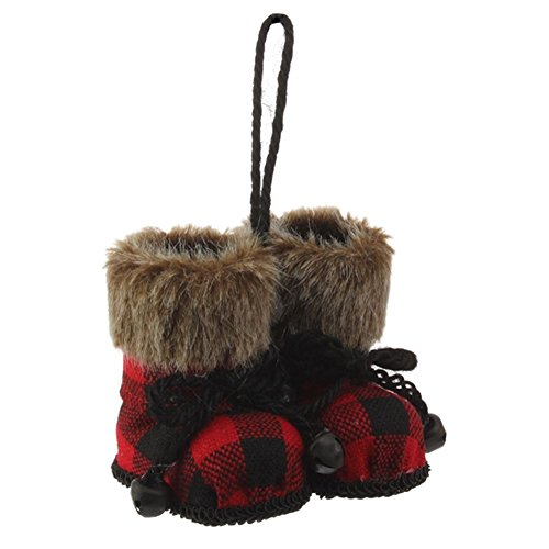 Christmas Cabin Red and Black Plaid Boot Ornament with Faux Fur Cuff