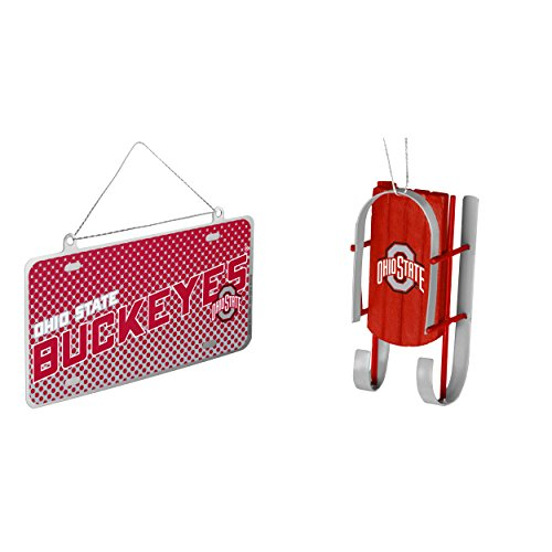 NCAA Ohio State Buckeyes Metal License Plate Christmas Ornament Sled Bundle 2 Pack By Forever Collectibles