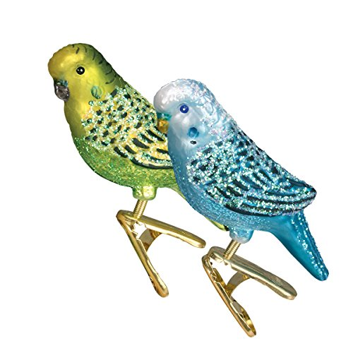 Old World Christmas Blown Glass Clip-On Ornament – Miniature Parakeet, Set of 2