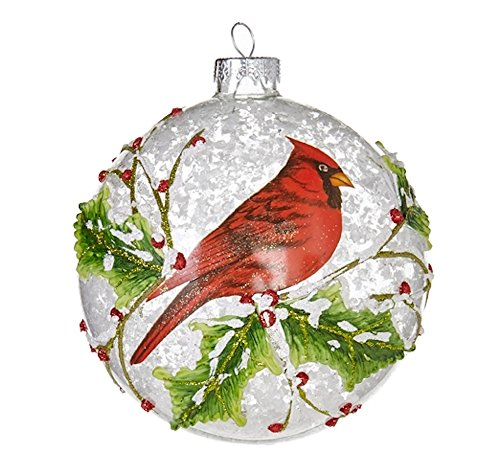 Red Cardinal with Snow and Branches Glass Ball Christmas Tree Ornament, 5 Inches