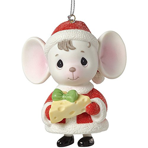 "Precious Moments, Christmas Gifts, ""The Holidays Are Mice With You"", Mouse with Cheese, Porcelain Bell Ornament, #161047"