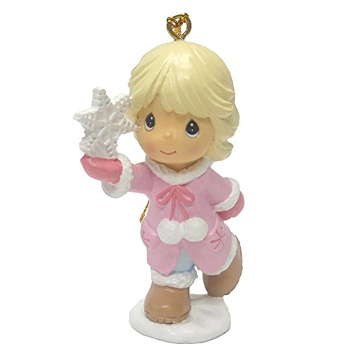 Precious Moments Christmas Holiday Tree Ornament – Little Blonde Girl Holding SnowFlake