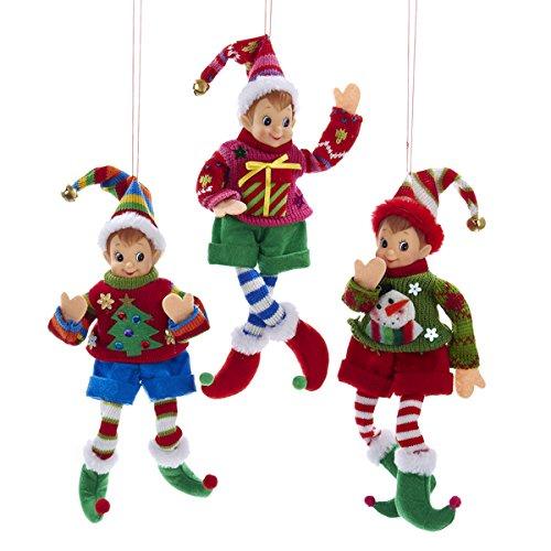 Kurt Adler Elf IN Sweater Ornament Set OF 3