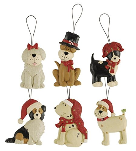 Set of 6 Dogs in Assorted Holiday Hats Hanging Christmas Ornaments, 3 Inch