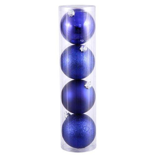 Vickerman 4″ Cobalt Blue 4 Finish Ball Ornament 12 per Box