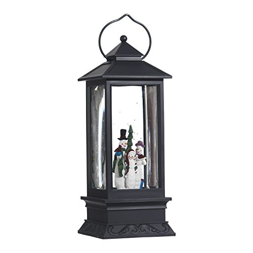 Lighted Snow Globe Lantern: 11 Inch, Black Holiday Water Lantern by RAZ Imports (Snowman Family)