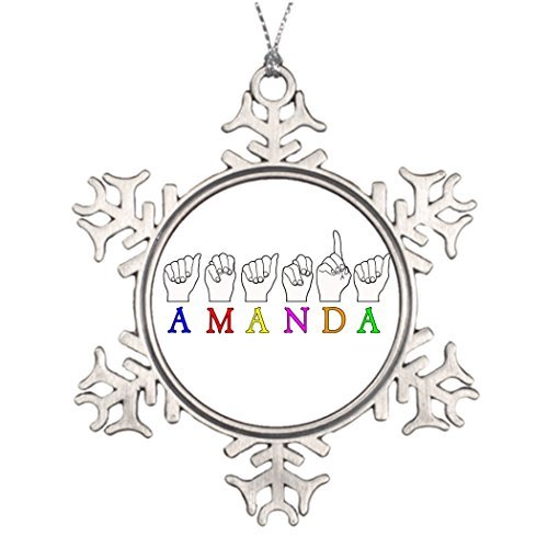 Metal Ornaments Personalised Christmas Tree Decoration AMANDA FINGERSPELLED ASL SIGN NAME FE MALE Christmas Decoration Ideas Sign