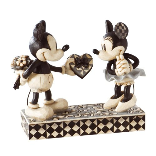 Disney Traditions by Jim Shore Black & White Mickey & Minnie Mouse Stone Resin Figurine, 6""