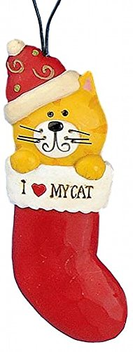 "Blossom Bucket Christmas Orange Tabby Cat in RED Stocking ""I LOVE MY CAT"" Resin Ornament"
