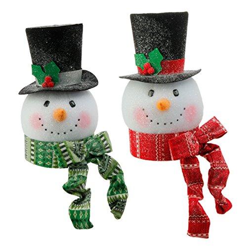 RAZ Imports – Tinsle Tangle – 15″ Snowman Head Ornaments/Decoration/Tree Topper (Both Colors (Set of 2))
