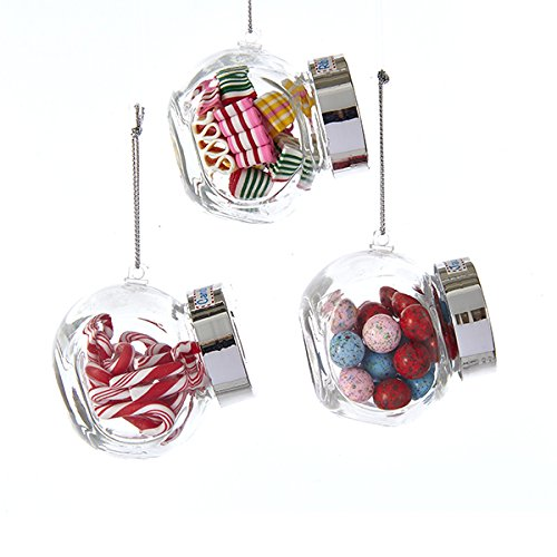 Kurt Adler GLASS CANDY JAR WITH JAW BUSTER CANDY, RIBBON CANDY AND CANDY CANE ORNAMENT – 3 ASSORTED