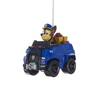 Kurt Adler Paw Patrol Character Chase on Blue Police Truck Christmas Ornaments