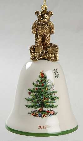 Spode 2012 Bell with Bear Top Ornament