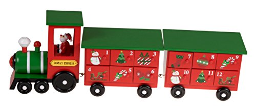 Christmas Train 24 Day Wooden Advent Calendar | Santa's Express Choo Choo Steam Engine Christmas Decor Theme | Red and Green Painted Wood | Measures 17.25″ x 3.5″ x 5.75″