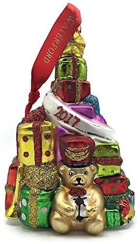Waterford 2017 Tree Ornament Teddy Bear and Presents