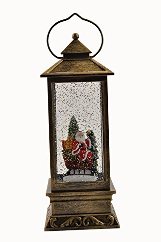 Eldnacele Battery Operated Lighted Christmas Snowman Spinning Water Snow Glitter Globe Lantern Decor Santa Claus