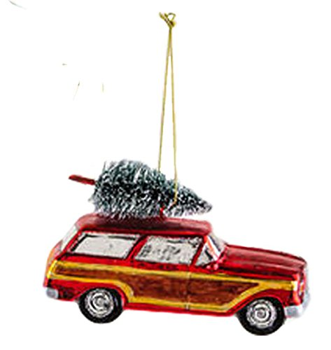 One Hundred 80 Degrees Woody Station Wagon Hanging Ornament (Red)
