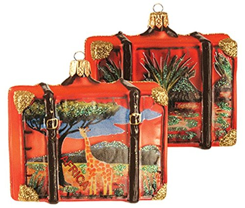 Africa Savannah Travel Suitcase Polish Glass Christmas Ornament ONE Decoration