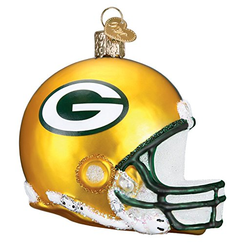 Old World Christmas Green Bay Packers Helmet Glass Blown Ornament