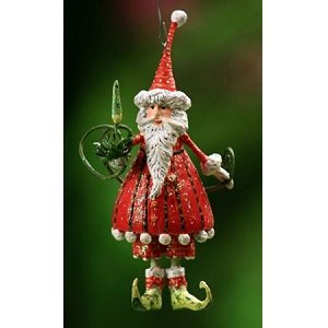 Patience Brewster Krinkles Mini Dashing Santa Ornament Holiday Tree Christmas Decoration