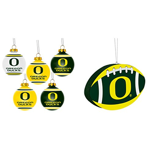 NCAA Oregon Ducks Plastic Christmas Ball Ornament 5 Pack Foam Bundle 2 Pack By Forever Collectibles