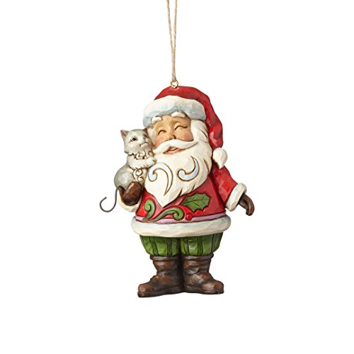 Enesco Jim Shore Heartwood Creek Santa with Cat Ornament