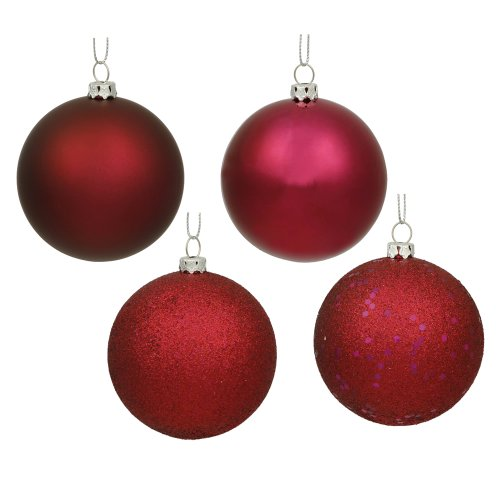 Vickerman Shatterproof Assorted Ball Ornaments Featuring Shiny, Matte, Sequin, and Glitter Finishes, 60 per Box, 2.4″, Wine