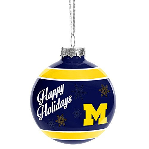 Forever Collectibles NCAA Christmas Holiday Glass Ball Ornament-Michigan Wolverines