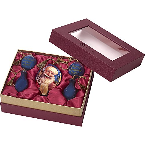 Precious Moments, Ne'Qwa Art 7171177 Hand Painted Ornament Gift Set of Five (5), Santa, Merry Christmas to All, And to All a Good Night, Night Blue Sky, 5.5-inches